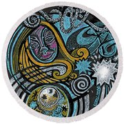 Girl In The Moon Round Beach Towel