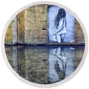 Girl In The Mural Round Beach Towel