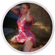Girl In The Pool 10 Round Beach Towel