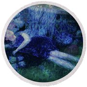 Girl In The Pool 12 Round Beach Towel