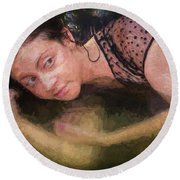 Girl In The Pool 13 Round Beach Towel