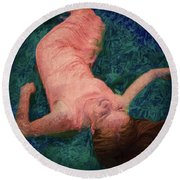 Girl In The Pool 14 Round Beach Towel