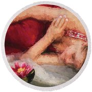 Girl In The Pool 2 Round Beach Towel