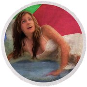 Girl In The Pool 3 Round Beach Towel