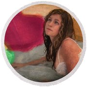 Girl In The Pool 4 Round Beach Towel