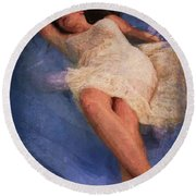 Girl In The Pool 6 Round Beach Towel