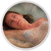 Girl In The Pool 8 Round Beach Towel
