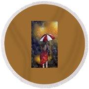Girl In The Rain  Round Beach Towel