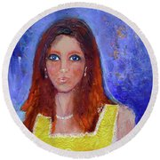 Girl In Yellow Dress Round Beach Towel