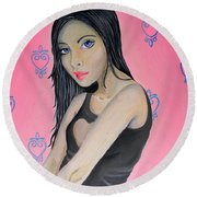 Girl Mysterious Round Beach Towel