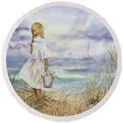 Girl And Ocean Watercolor Round Beach Towel