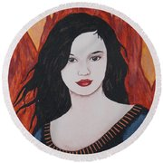 Girl Of Fire Round Beach Towel