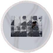 Girl On A Grid Round Beach Towel