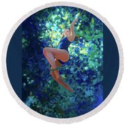 Girl On A Rope Round Beach Towel