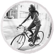 Girl On Bike Sculpture Grand Junction Co Round Beach Towel