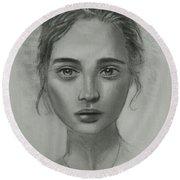 Girl On Canvas Round Beach Towel