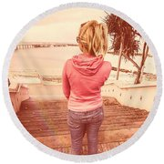 Girl On Redcliffe Travel Holiday Round Beach Towel