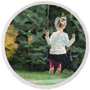 Girl Playing Outside Round Beach Towel