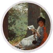 Girl Reading Under An Oak Tree Round Beach Towel