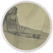 Girl Seated On A Hillside Round Beach Towel