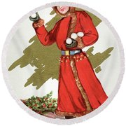 Girl Throwing Snowballs In A Christmas Landscape Round Beach Towel