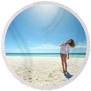 Girl Under The Sunshine Round Beach Towel