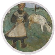 Girl With A Goat  Round Beach Towel
