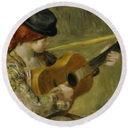 Girl With A Guitar Round Beach Towel by Pierre Auguste Renoir