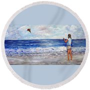 Girl With A Kite Round Beach Towel