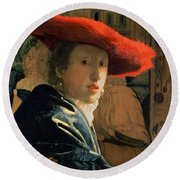 Girl With A Red Hat Round Beach Towel by Jan Vermeer