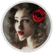 Girl With A Red Rose.. Round Beach Towel