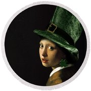 Girl With A Shamrock Earring Round Beach Towel