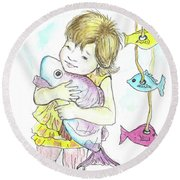 Girl With A Toy-fish Round Beach Towel