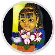 Girl With African Violet Round Beach Towel