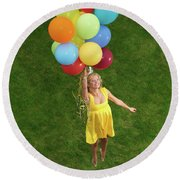 Girl With Air Balloons Round Beach Towel