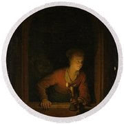 Girl With An Oil Lamp At A Window Round Beach Towel