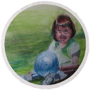 Girl With Ball Round Beach Towel
