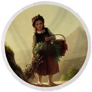 Girl With Basket Round Beach Towel