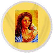 Girl With Blue Shawl Round Beach Towel