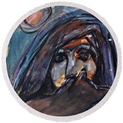 Girl With Cat And Moon Round Beach Towel
