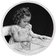 Girl With Coloring Book, C.1960-40s Round Beach Towel