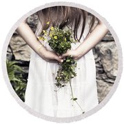 Girl With Flowers Round Beach Towel