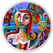 Girl With Glass Of Chardonnay Round Beach Towel