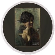 Girl With Lamb In Her Arms Round Beach Towel