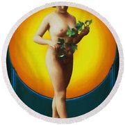 Girl With Leaves Round Beach Towel