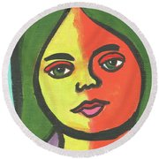 Girl With Necklace Round Beach Towel