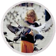 Girl With Pigeons Round Beach Towel