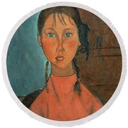 Girl With Pigtails Round Beach Towel by Amedeo Modigliani