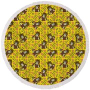 Girl With Popsicle Yellow Floral Round Beach Towel