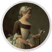 Girl With Racket And Shuttlecock Round Beach Towel by Jean-Baptiste Simeon Chardin